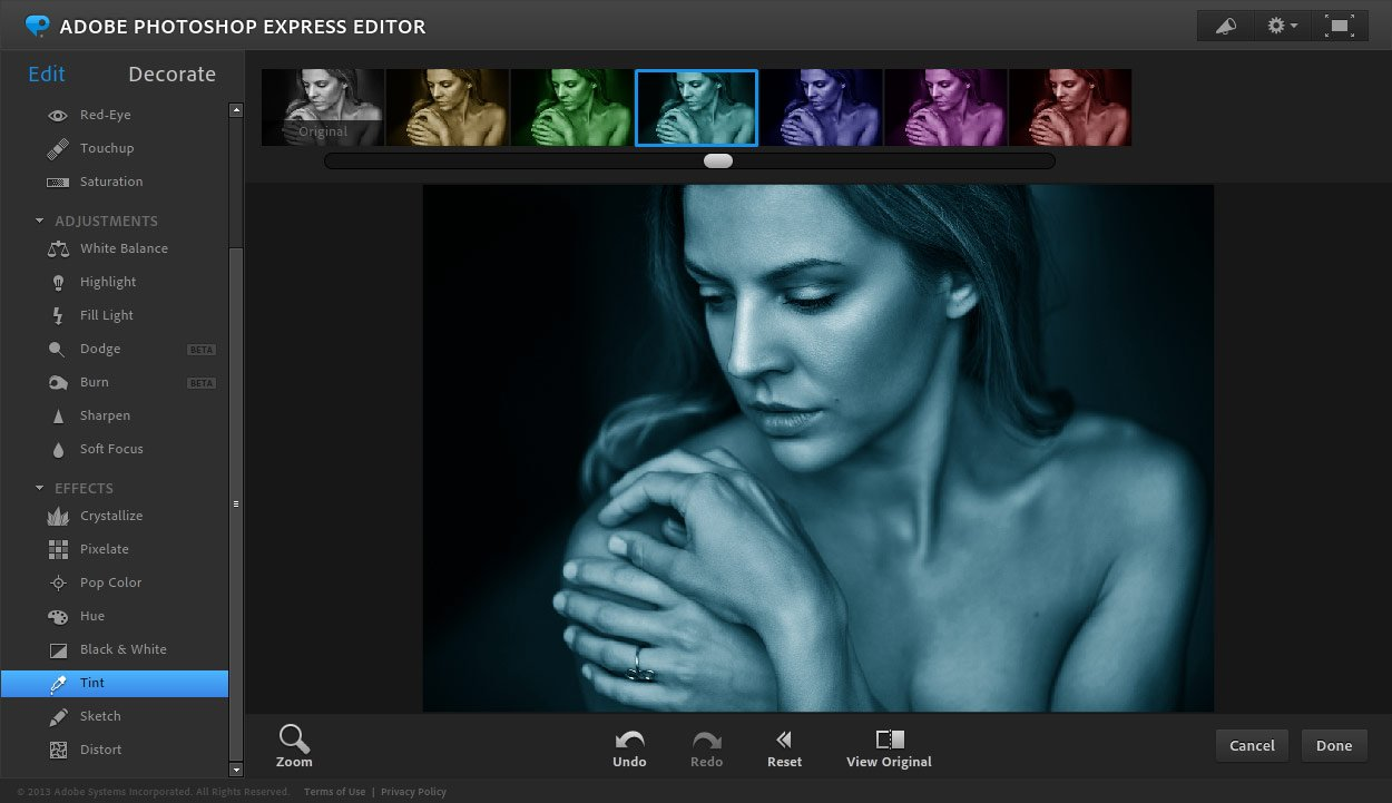 Онлайн-фоторедактор Adobe Photoshop Express Editor