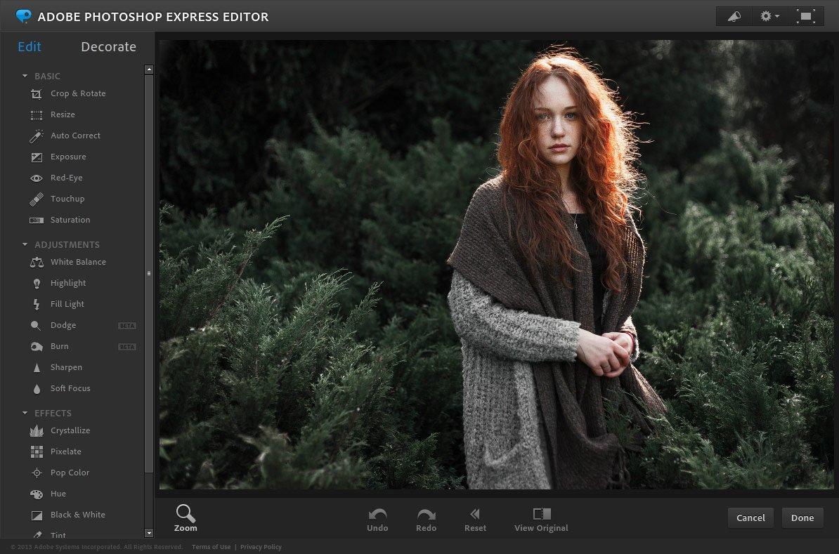 Фоторедактор Photoshop Express онлайн