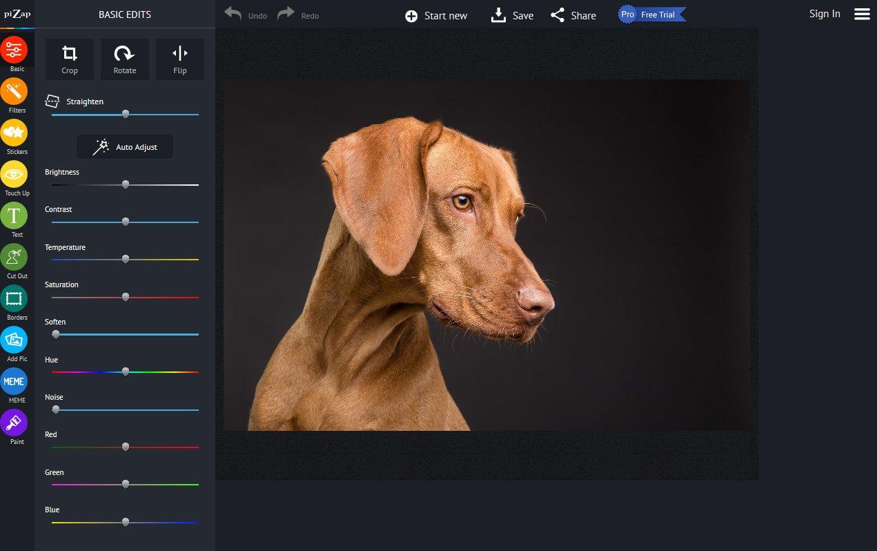 Онлайн-фоторедактор piZap